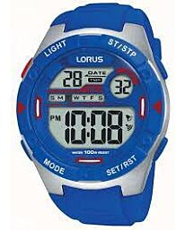 Lorus Mens Digital Alarm Blue Rubber Strap Watch R2301NX9