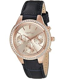 Caravelle New York Women's Chronograph Gold Dial Leather Strap Watch 44L183