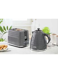 Daewoo Argyle Grey Kettle And Toaster Combo