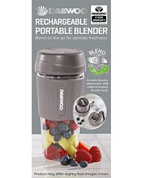 Daewoo 50W Grey Portable Rechargable Blender with 300ml Capacity and Drinking Lid  SDA1945