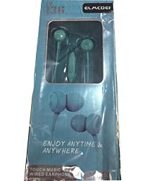 ELMCOEI Earphone Fashion and Comfortable for Iphone & Android EV136 Blue