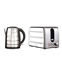 Daewoo Deauville 1.7L Kettle & 2–Slice Toaster Stainless Steel Set