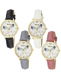 Ravel Ladies Butterfly Faux Leather Strap Watch RF003