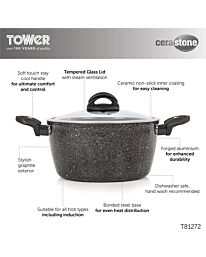 Tower 24cm Cerastone Induction Casserole Dish with Glass Lid- T81272