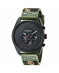 Caravelle New York Men's Chronograph Black Ion-Plated Fabric Strap Watch 45B123