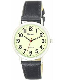Ravel Glow in The Dark Luminous Dial Watch (Black)