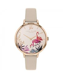 Sara Miller Piccadilly Ladies Trench Leather Strap Tropical Dial Watch SA2070