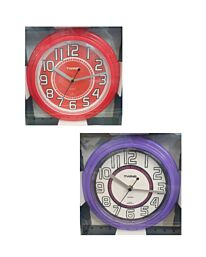 """A406 TWINS 10"""" KITCHEN SWEEP WALL CLOCK AVAILABLE IN COLOURS"""