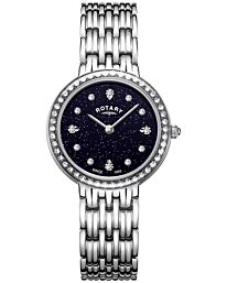 Rotary Women's Blue Sparkle Dial Stainless Steel Analogue Watch LB00400/67