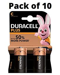 Duracell Plus C Size Alkaline Batteries Pack of 10