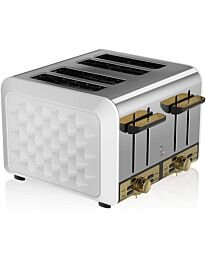 Swan Gatsby 4 Slice Toaster ST14084WHTN- White And Gold