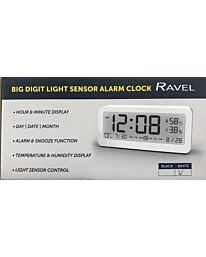 Ravel Big Digit Light Sensor Alarm Clock White RCD005.4