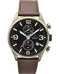 Accurist Mens Brown Leather Strap Chronograph Watch With Date Display 7023