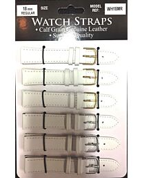 WHMR White calf regular straps card of 6 Available size 10mm - 20mm