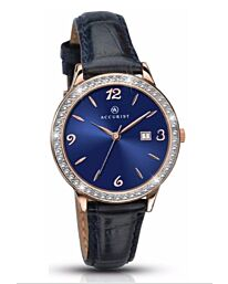 ACCURIST Ladies Navy Strap Rose Gold Plated Stone Set Watch 8063