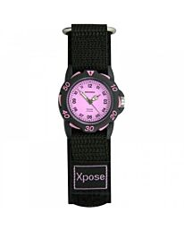 Sekonda Children's 32 mm Quartz Watch with Pink Analogue dial and Black Fabric 3893
