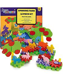 62 Piece Kids Toy Spinning Farm & Animals Play Set Kit Learning - 550906