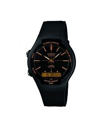 Casio Men's Quartz Watch Black Dial Analogue Digital Display Black Resin Strap AW-90H-9EVDF