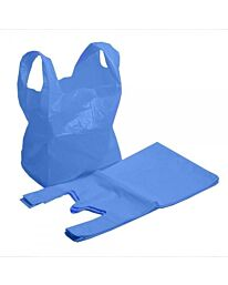30324 LG BLUE RECYCLED VEST CARRIER BAGS PK100