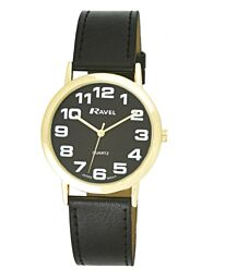 Ravel Mens Super-Clear Easy Read Quartz Watch Black Strap Black Face R0105.23.1A