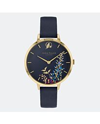 Sara Miller Gold Wisteria Navy Dial Leather Band Watch SA2044