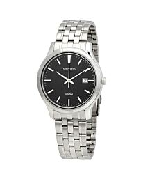 Seiko Men's Black Dial Stainless Steel  Bracelet Watch SUR293P1