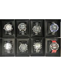 QUAMER  DIGITAL/ANALOGUE DUAL TIME GENTS WATCH Assorted designs and colours