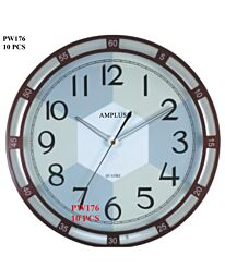 Amplus 34cm Diameter Quite Sweep Second With Night Sensor Metallic Red Bezel Big Bold Numbers Wall clock PW176-1730R
