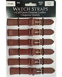 TNML Tan calf regular watch straps LONG card of 6 Available Sizes from 12mm To 20mm