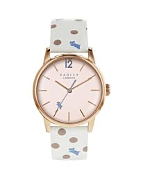 Radley Women's Rose Gold Stainless Steel Watch with Chalk Patterned Leather Strap RY2566