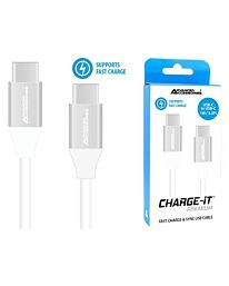 Advanced Accessories Charge IT Premium USB C to USB C Cable 1M White