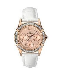 Accurist Women's Fashion Rose Gold Dial White Leather Strap Wristwatch 8055