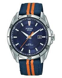 Pulsar Mens Analogue Solar Powered Watch with Nylon Strap PX3175X1