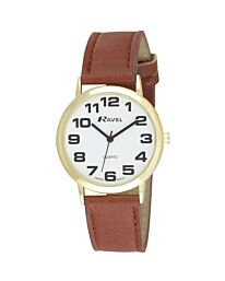 Ravel Gents Polished Round Case Brown Strap Watch R0105.22.1A