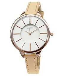 Sekonda Women' White Dial Analogue Display Rose Gold PU Strap Watch 2013