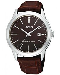 Lorus Mens Dated Quartz Watch with Brown Leather Strap RH925BX9