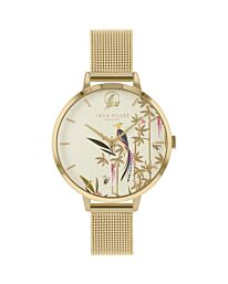 SARA MILLER BAMBOO GARDEN LADIES PALE GOLD STAINLESS STEEL MESH STRAP AVERY FOREST BIRD PALE GOLD DIAL WATCH SA4072