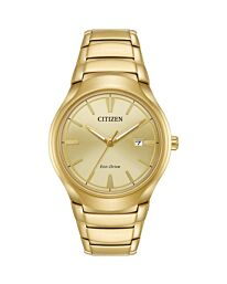 Citizen Men's Gold Plated Eco-Drive Watch AW1552-54P