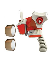 Stikky 48mm x 66m Packing 2 Sticky Tape Brown with Tape Gun Dispenser