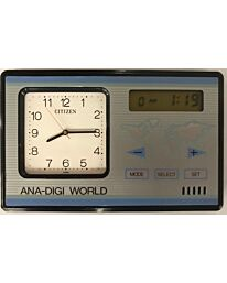LPB9515B CITIZEN ANALOOGUE-DIGITAL WORLD TIME ALARM CLOCK SILVER/BLUE