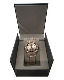 PI-7644 NY LONDON GENTS BLING WATCH SILVER-ROSE-SILVER
