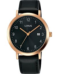 Lorus Men's Analog Quartz Watch with Date and Leather Strap Black Dial RH938JX9
