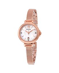 BULOVA White Mother of Pearl Rose Gold-plated Ladies Watch 97P108