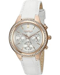 Caravelle New York Women's Chronograph Leather Strap Watch 44L214