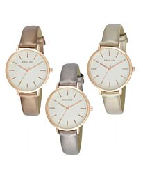 Henley Women's Fashion Casual Metallic Strap Watch H06145 - Multiple Colour