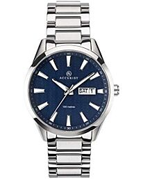 Accurist Men's Signature Fashion Day-Date Blue Dial Bracelet Wristwatch 7219