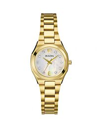 Bulova Women's Quartz Diamond Watch with Mother of Pearl Dial Analogue Display and Gold Stainless Steel Bracelet 97S109
