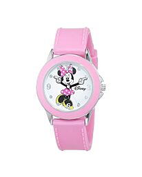 Disney Girls Analogue Classic Quartz Watch with Pink Rubber Strap MN1442