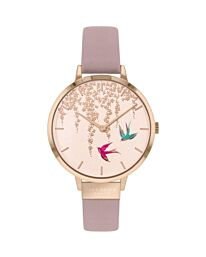 SARA MILLER BLOSSOM LADIES DUSKY PINK LEATHER STRAP FLYING BIRDS WATCH SA2060