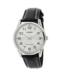 Casio Men's Silver Dial Leather Strap Watch MTP-V001L-7BUDF